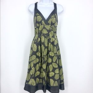 TED BAKER Leaf Print Midi Dress Gray, Yellow Silk
